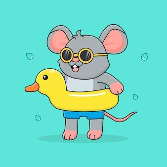 Simpatico topo con anatra di gomma e occhiali da sole