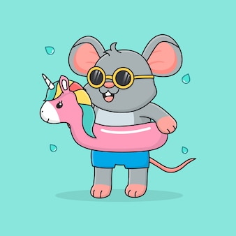 Simpatico topo con anello di nuotata unicorno e occhiali da sole