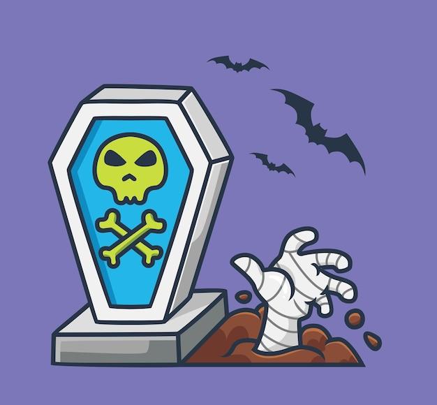 Mano di mummia carina da una tomba di cartone animato concetto di evento di halloween illustrazione isolata stile piatto