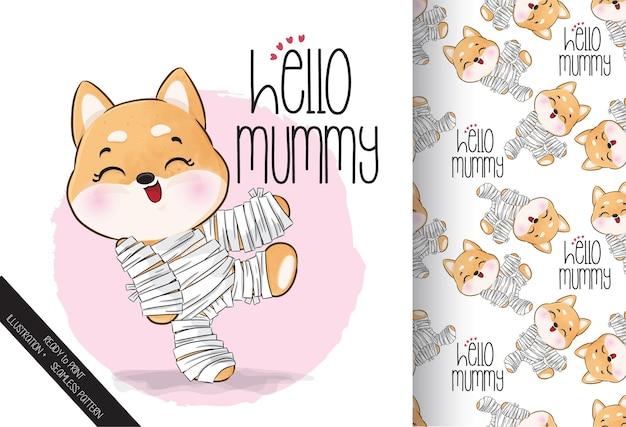 Simpatico cucciolo di mummia felice halloween con motivo senza cuciture