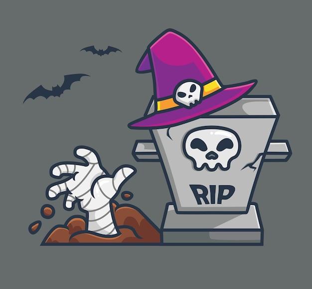 Simpatico mago zombie mummia dalla tomba del fumetto concetto di evento di halloween illustrazione isolata flat