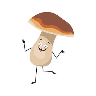 Simpatico personaggio a forma di fungo con emozioni gioiose, faccia sorridente, danza, occhi felici, braccia e gambe, un cuore divertente.