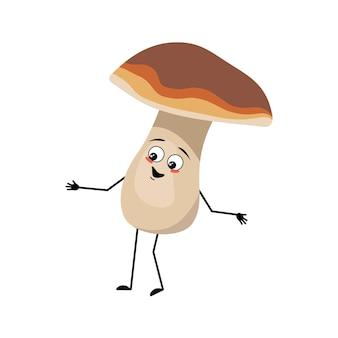 Simpatico personaggio a forma di fungo con emozioni gioiose sorriso viso occhi felici braccia e gambe un divertente sano che...