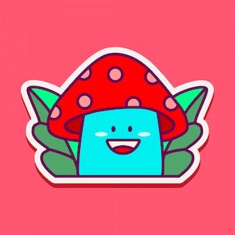 Adesivo doodle fungo carino Vettore Premium