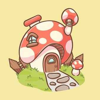 Illustrazione di cartone animato carino casa dei funghi