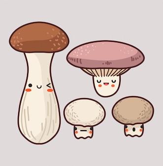 Fascio di illustrazione di funghi carino.