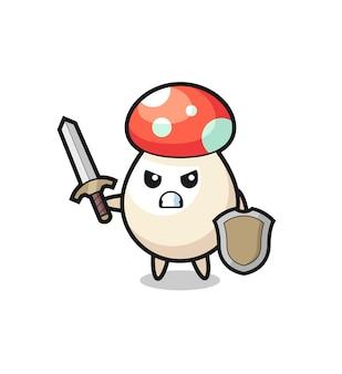 Simpatico soldato fungo che combatte con spada e scudo, design in stile carino per maglietta, adesivo, elemento logo