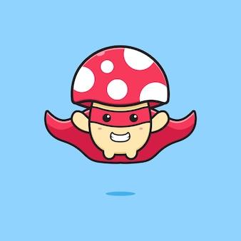 Simpatico fungo super eroe icona del fumetto. design piatto isolato in stile cartone animato