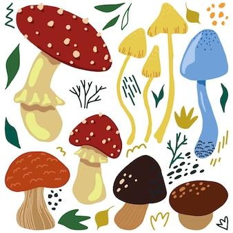 Illustrazione vettoriale disegnata a mano piatta di funghi carini. collezione colorata in stile scandinavo. insieme di elementi semplici del raccolto della foresta autunnale per il design.
