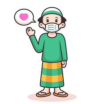 Simpatico cartone animato musulmano con segno di amore. illustrazione dell'icona. persona icona concetto isolato
