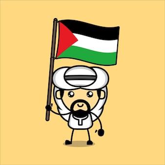 Simpatico personaggio musulmano con bandiera palestinese vettore premium