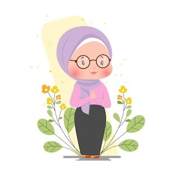 Illustrazione botanica ramadan illustration greeting concept illustration della ragazza musulmana sveglia