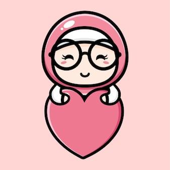 Design carino ragazza musulmana