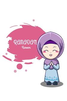 Ragazza musulmana sveglia all'illustrazione del fumetto di ramadan kareem