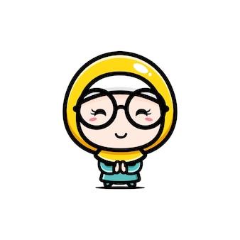 Carina ragazza musulmana con gli occhiali