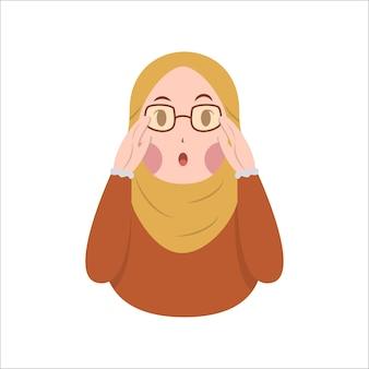 La simpatica donna musulmana hijab indossa occhiali con illustrazione vettoriale di espressione sorpresa