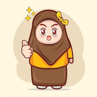 Illustrazione del personaggio dei cartoni animati della ragazza musulmana carina cute