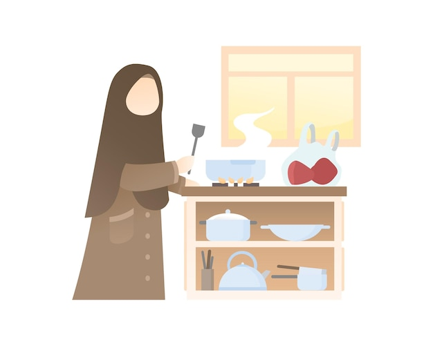 Carina ragazza muslimah che cucina in cucina