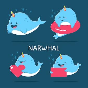 I personaggi dei cartoni animati svegli di narwhal hanno messo isolato su fondo.