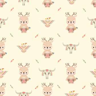 Simpatici animali nativi americani cervi cartoon seamless pattern