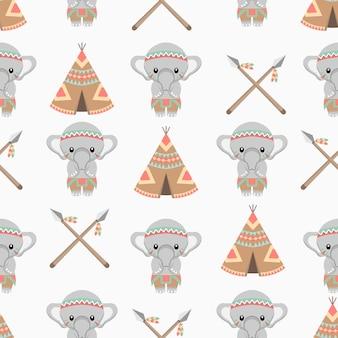 Modello senza cuciture del fumetto di animali elefante nativo americano sveglio