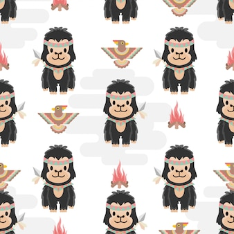 Carino nativo americano scimmia animali cartoon seamless pattern