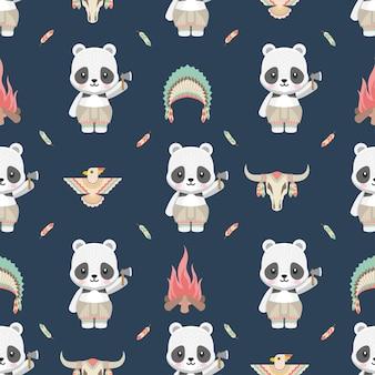 Carino nativo americano panda animali cartoon seamless pattern