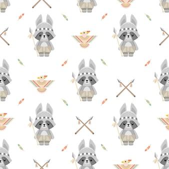 Carino nativo americano procione animali cartoon seamless pattern