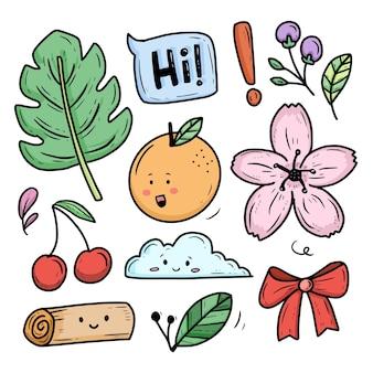 Insieme sveglio della raccolta del fumetto della pianta e della frutta del fiore della natura