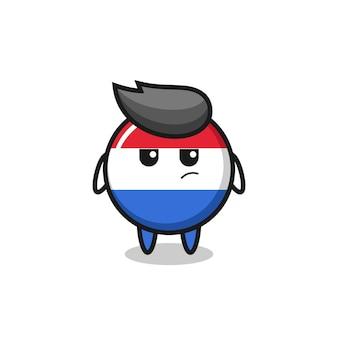 Simpatico personaggio distintivo della bandiera dei paesi bassi con espressione sospettosa, design in stile carino per maglietta, adesivo, elemento logo