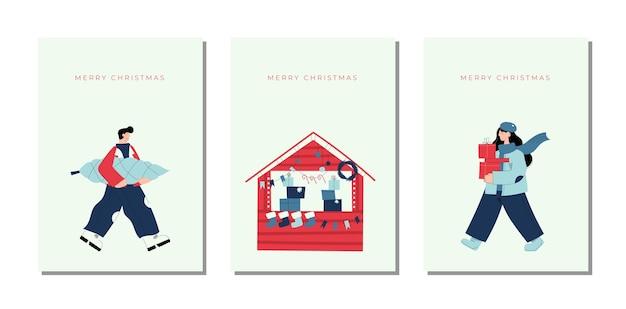 Cartoline di natale disegnate a mano di natale e capodanno carino con chiosco del mercatino di natale e carattere della donna