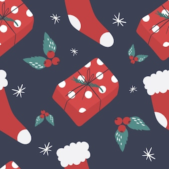 Modello senza cuciture sveglio del nuovo anno con doni e calzini. illustrazione.