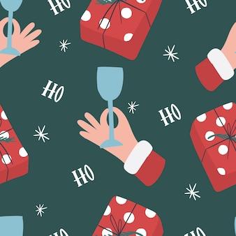 Modello senza cuciture sveglio del nuovo anno con i regali