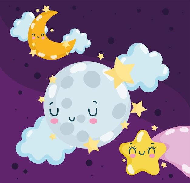 Luna notturna carina Vettore Premium