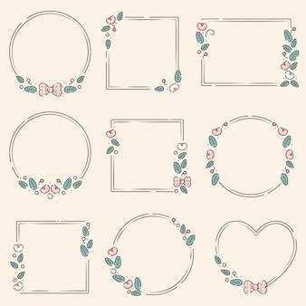 Simpatiche nove cornici floreali per il modello di carta di matrimonio premium