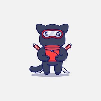 Simpatico gatto ninja che porta un secchio