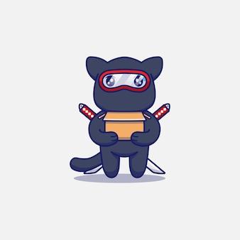 Simpatico gatto ninja che trasporta un cartone