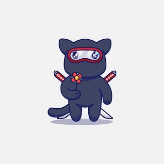 Simpatico gatto ninja che porta un fiore