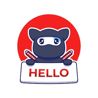 Simpatico gatto ninja che trasporta ciao card