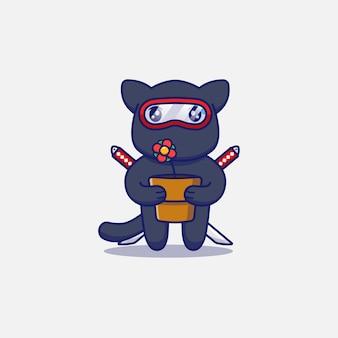 Simpatico gatto ninja che porta un vaso di fiori