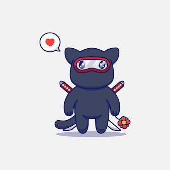 Simpatico gatto ninja che porta un fiore rosso
