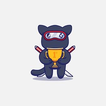 Simpatico gatto ninja che porta un trofeo