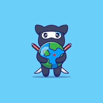 Simpatico gatto ninja che abbraccia il pallone del pianeta terra