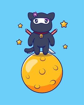 Simpatico gatto ninja nella luna