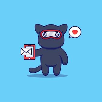 Simpatico gatto ninja che riceve un messaggio sullo smartphone