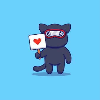 Simpatico gatto ninja che mostra il segno di amore