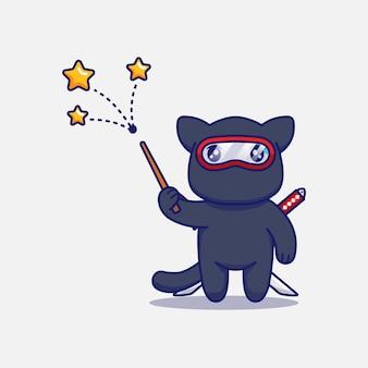 Simpatico gatto ninja che mostra alcune stelle