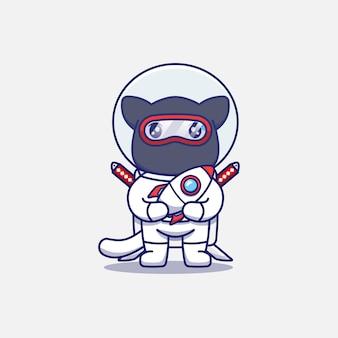 Simpatico gatto ninja che indossa una tuta da astronauta che trasporta una miniatura di un razzo