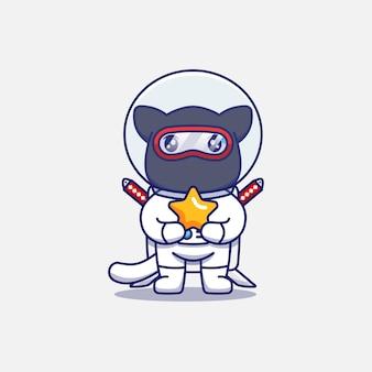 Simpatico gatto ninja che indossa una tuta da astronauta che trasporta una stella