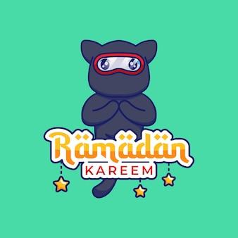 Simpatico gatto ninja con saluto di ramadan kareem